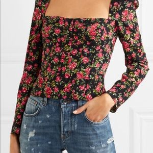 Roseline floral print crepe bustier
